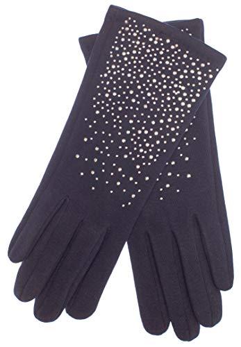 EEM Damen Jersey Handschuhe ERIKA aus Baumwolle mit Touch-Funktion und Strass-Applikation, gefüttert mit kuschelig weichem Teddyfleece Marine One size