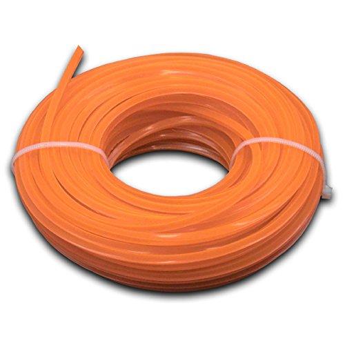 vhbw Fil de Coupe Universel pour Tondeuse, débroussailleuse, Coupe-Bordure - Fil de Rechange, Orange, 3 mm x 15 m, carré