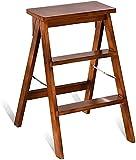 Escaleras de madera para el hogar Cocina Escaleras plegables de doble uso Silla Taburete de escalera Escalera plegable Taburete para sillas Escaleras de biblioteca para el hogar 39 * 20 * 64 cm (Colo