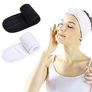 Spa Facial Headband - 2 PCS Make Up Wrap Head Shower Sport Terry Cloth Headband Adjustable Stretch T...