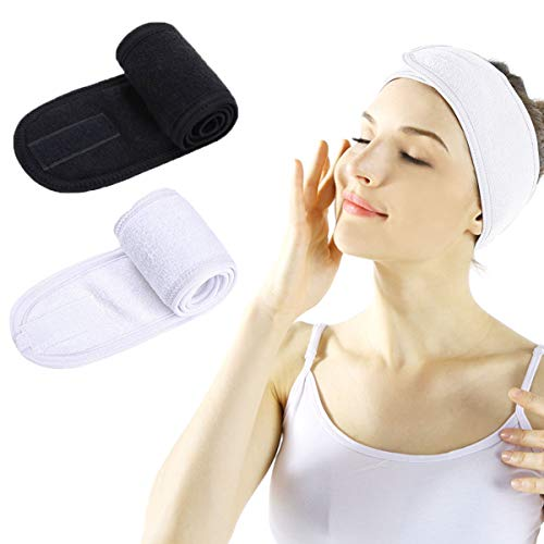 Facial Spa Headband  2 Pcs Makeup Shower Bath Wrap Sport Headband Terry Cloth Adjustable Stretch Towel with Magic Tape