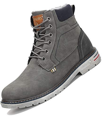 Mishansha Męskie buty zimowe z ciepłą podszewką, damskie buty trekkingowe, wodoodporne, antypoślizgowe, buty zimowe do aktywności na świeżym powietrzu, szary - szary - 44 EU