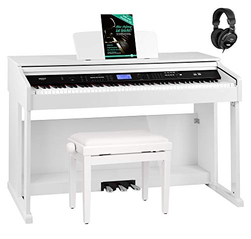 FunKey DP-2688A WH Digitalpiano Set - 88 anschlagsdynamische Tasten - Hammermechanik - 128-fach polyphon - 360 Sounds - 160 Styles - Spar-Set inkl. Klavierbank, Kopfhörer & Schule - weiß Hochglanz