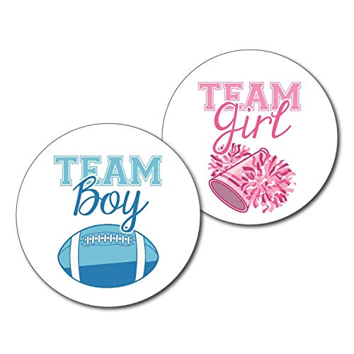 36 2.5 inch Football and Cheerleader Gender Reveal Party Stickers