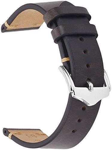 DXR Correa de reloj de piel de becerro vintage Banda de reloj para hombres y mujeres, 18 mm, 20 mm, 22 mm, color negro