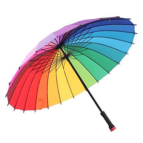 Memory Paraguas del Arco Iris, Creativa Engrosamiento Óseo 24 Resistente A La Intemperie Paraguas, Interruptor Manual Mango Largo Paraguas, Paraguas Unisex