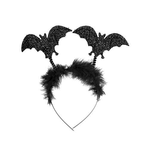 Oblique Unique® Fledermaus Haarreifen mit Glitzereffekt für Prank Monster Grusel Horror Halloween Karneval Fasching Kostüm Accessoire