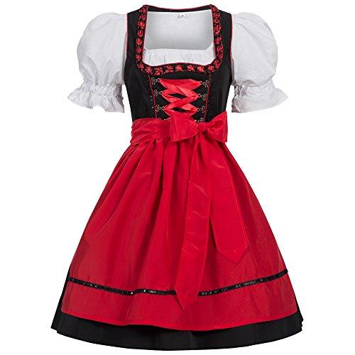 Gaudi-Leathers Damen Dirndl Kleid Dirndlkleid Trachtenkleid Midi Ilona Schwarz Rot 42