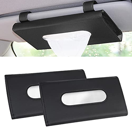 2Pack Car Tissue Holder, Sun Visor Napkin Holder, Seat Back Tissue Box, Paper Storage Cases for Universal Auto Vehicle, Hanging Car Tissue Holder with PU Leather Decoration for Cars and Trucks (Black)