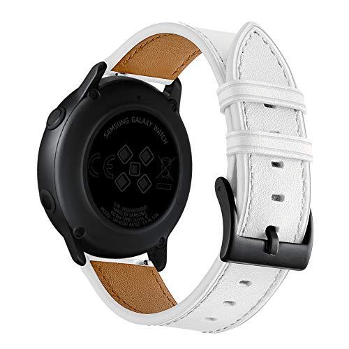 HappyTop - Correa de Piel Compatible con Samsung Galaxy Watch Active Watch, Unisex, para Adultos, Unisex Adulto, Blanco