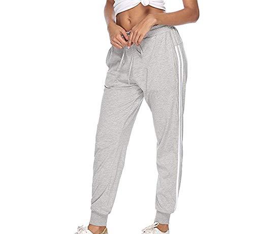 N\P Pantalones deportivos para mujer Pantalones de cintura alta a rayas casuales