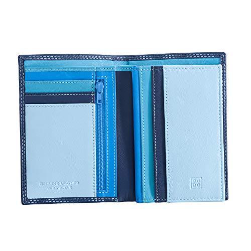 Portafoglio da uomo a libro in pelle multicolore con lampo DUDU Blu