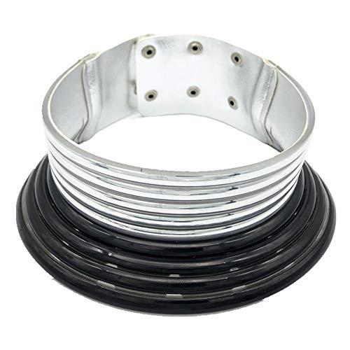 RENJIANFENG Collar De Gargantilla De Plata Dorada Collares para Mujer, Collar De Declaración De Plástico Gargantilla Abierta Collar De Babero Collar De Joyería Africana, C