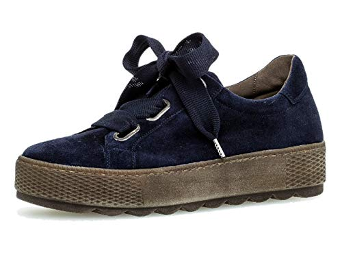 Gabor Damen Sneaker 36.535, Frauen Low-Top Sneaker,Halbschuh,Schnürschuh,Strassenschuh,Business,Freizeit,Marine,39 EU / 6 UK