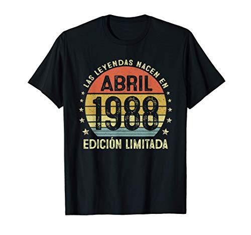 Leyendas Abril 1988 Regalo Hombre Mujer 33 Años Cumpleaños Camiseta