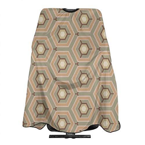 Vintage Patroon Hexagon Vector Afbeelding Professionele Haar Snijden Salon Nylon Cape Barber Cape Waterdicht Met Snap Sluiting 55