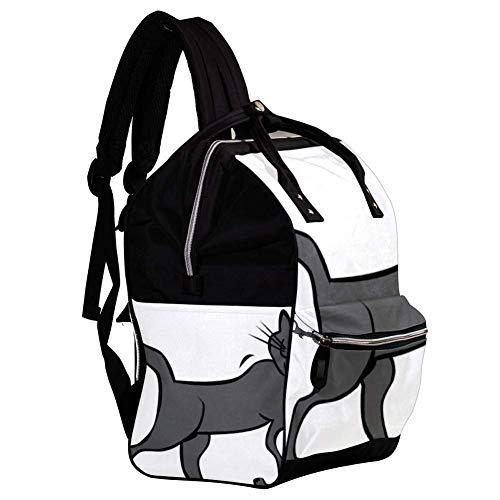 Große Kapazität Baby Wickeltasche Rucksack für Frauen und Mama Geldbörse Reisen Anti-Diebstahl-Rucksack Leichte lässige College-Schultasche für Mädchen 27x19.8x36.5cm Cartoon-Katze-Clip-Art