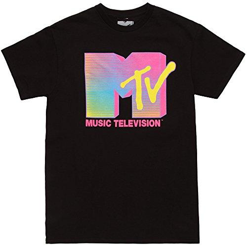 Fifth Sun MTV Fluorescent Logo Adult T-Shirt - Black (X-Large)