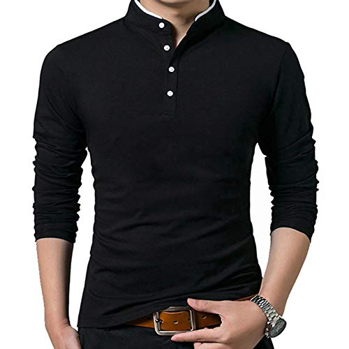 Poloshirts Herren Basic Langarm Golf T-Shirt Baumwolle Polohemd Herren Langarmshirt Poloshirt schwarz XL