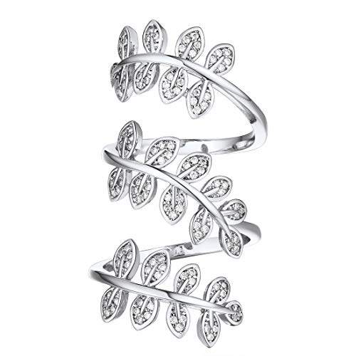 U7 Women Clear CZ Platinum Plated Leaf Shape Full Finger Long Ring, Statement Cocktail Ring, Bride Ring Adjustable