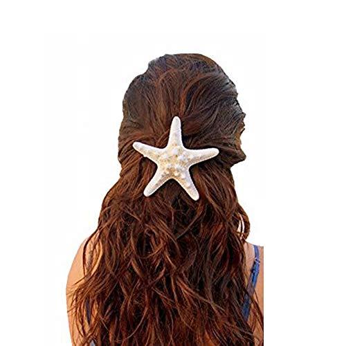 2Pcs Handmade Natural Starfish Hair Clips Girls Hairpins Beach Starfish Hair Accessories