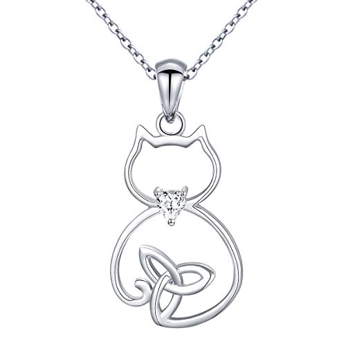 Sterling Silver Celtic Cute Cat Pendant Necklace for Women Girlfriend, 18 Inches