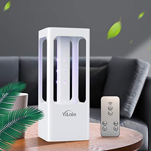 [Versión mejorada] Lámpara de esterilización LED YiLaie UVC, tasa de desinfección del 99,99%, 12 luces LED germicidas con control remoto con sensor de movimiento