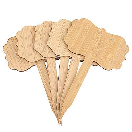 Kinglake, 24 etichette ecologiche per piante in bambù, 6,5 x 10 cm, per erbe aromatiche, semi di fiori, verdure, 24 pezzi