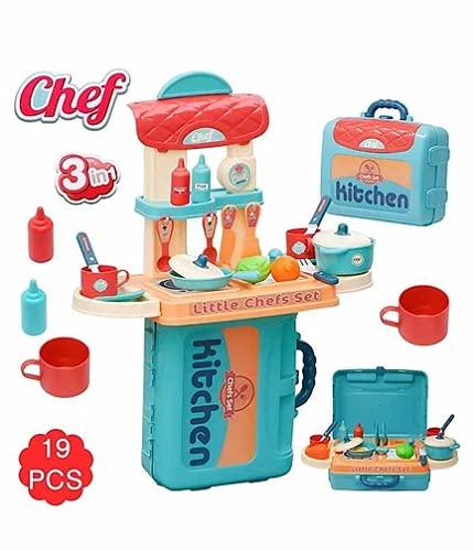 Gopinath Trade Plastic 3 in 1 Mini Kitchen Suitcase Portable Play Set for Kids - Multicolour