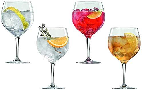 Spiegelau & Nachtmann, 4-teiliges Gin Tonic-Gläser-Set, Kristallglas, 360 ml, Special Glasses, 4390179 + 4er Set EKM Living Edelstahl Strohhalme kurz (Glas Trinkhalm)