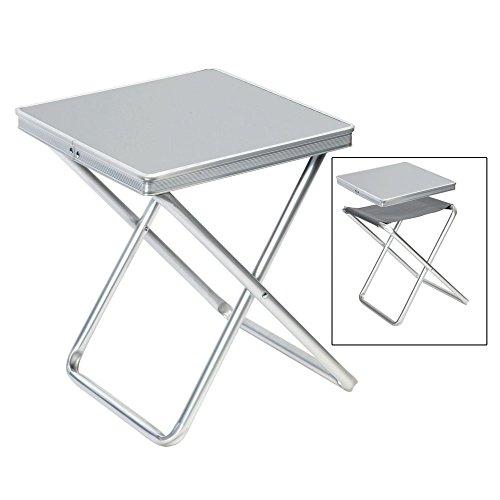 #11 Alu Hocker mit MDF Tischplatte Tablett 40x40x46cm: Klapphocker Campinghocker Falthocker Angelhocker Campingtisch klappbar