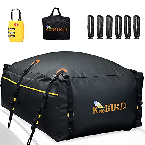 KING BIRD 100% Waterproof Roof Cargo Carrier Bag 20 Cubic Feet with Non-Slip Bottom+6 Door Hooks+Luggage Lock Fits All Vehicles with or Without Rack