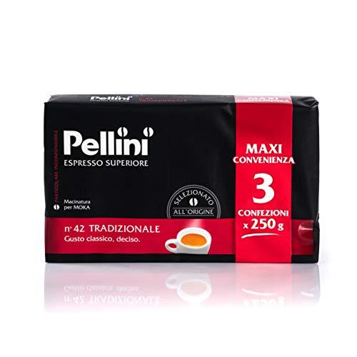 Pellini Caffè für Espressokanne Gusto Tradizionale Nr. 42 zu je 3X250 g - Insgesamt 750 g