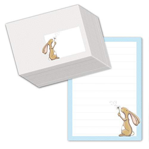 """Schreibblock/Briefblock\""""HASE HAMLET\"""" DIN A5 (liniert 50 Blatt) inklusive 20 passenden Umschlägen/Briefpapier für Kinder/Briefpapier Set Kinder"""
