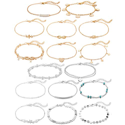 Softones 12-16Pcs Ankle Bracelets for Women Girls Gold Silver Two Style Chain Beach Anklet Bracelet Jewelry Anklet Set,Adjustable Size