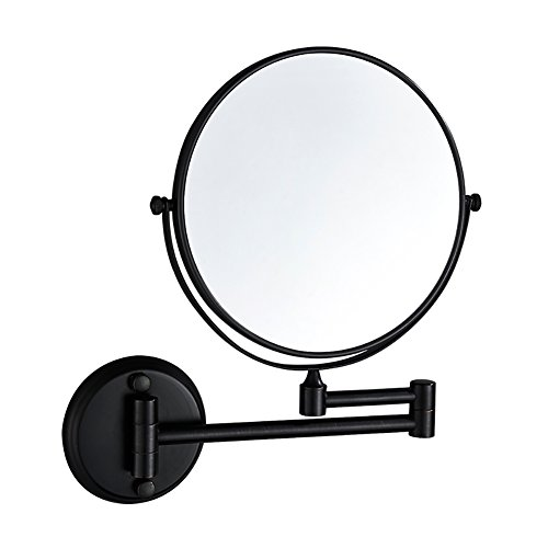 JJJJD Espejo de Afeitar montado en la Pared de 8 Pulgadas, Espejo de Maquillaje de baño de Aumento 3X, Extensible Cosmético Lateral Doble Plegable (Color : Black)