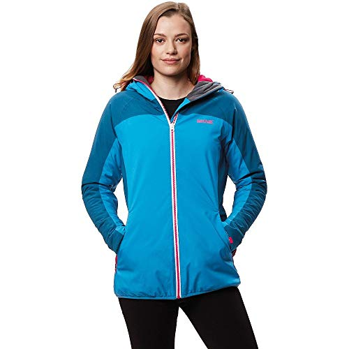 Regatta Whitlow Stretch Waterproof and Breathable Wind Resistant Hooded Veste Femme, Blue Reef/Moroccan Blue, Taille 40