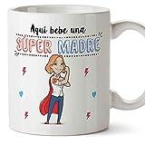 MUGFFINS Tazas Mama para Madres - AQUÍ Bebe UNA Super Madre - Taza Desayuno Original 350 ml - Idea Regalo para el día de la...