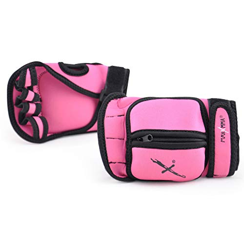 MaxxMMA Adjustable Weighted Gloves, 2 lb. Set - Removable Weight (2 x 0.5 lb. Each Glove) for Sculpting MMA Kickboxing Cardio Aerobics Hand Speed Coordination Shoulder Strength (Pink)