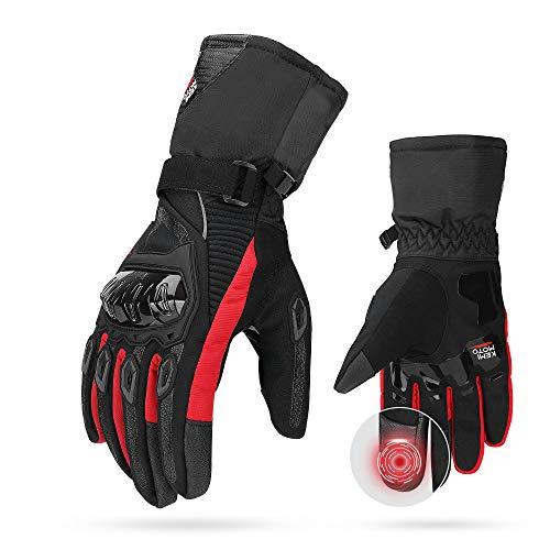 Guantes Moto 2KP Homologados para Invierno, Guantes Impermeables de Moto con Pantalla Táctil, Guantes Protectores de Motociclismo de Dedo Completo para Invierno