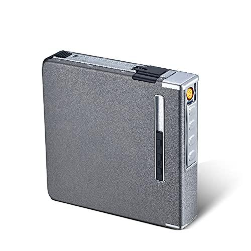 KUIMI Caja de Cigarrillos Ligera portátil Estuche para Cigarrillos Estuche para Caja con expulsión automática con Encendedor USB Recargable, sin Llama, a Prueba de Viento, Impermeable,Grey