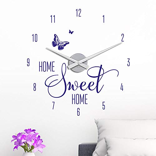 KLEBEHELD® Wandtattoo Uhr Home Sweet Home mit Schmetterling für Wohnzimmer, Küche, Flur oder Wohnbereiche Farbe schwarz, Größe 45x47cm | Uhrwerk silber, Umlauf 44cm