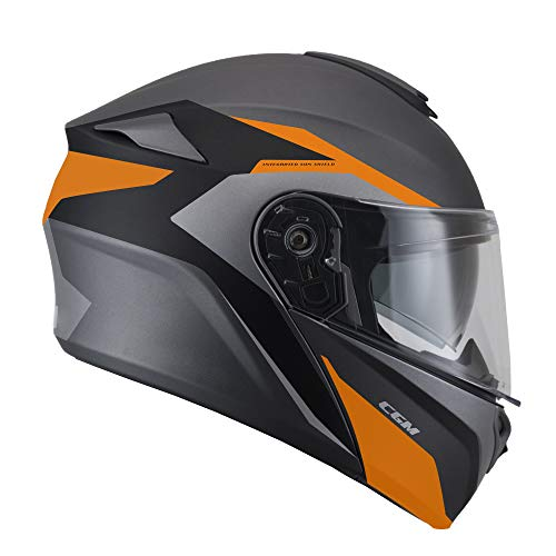 508G-ALV-02 Orange Matt (M) umwandelbarer Helm (DRESDA Pinlock) Innenhose extra rauchgrau