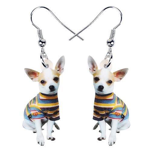 AdronQ Boucles d'oreilles Pendantes Créoles Pendantes Acrylique Mignon Manteau Rayé Chihuahua Chien Boucles d'oreilles Balancent Goutte Bijoux Uniques pour