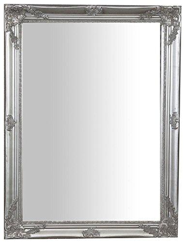 Biscottini Specchio, Specchiera rettangolare da parete, da appendere al muro orizzontale verticale, Shabby chic, trucco, bagno, cornice finitura colore argento anticato, L62xPR3xH82 cm. Stile shabby chic.