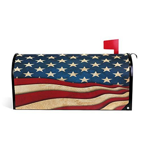 Wamika Independence Day Amerika-Flagge, magnetische Briefkasten-Abdeckung, Briefkasten-Umrandung, Briefkasten, Garten, Hof, Heimdekoration für Außenbereich, Standardgröße 52 cm (L) x 46 cm (B)