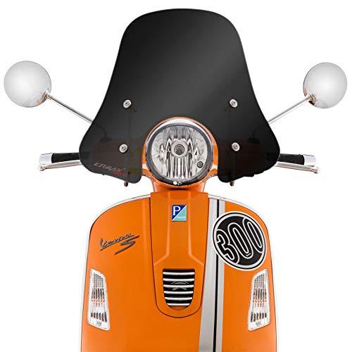 Ermax Windschild, Sportivo, schwarz getönt, für Vespa GTS/GTS Super/GT/GT L 125-300ccm H 305 mm, B 525 mm, mit ABE, inkl. Montagematerial