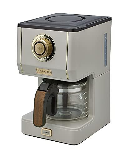 【Toffy/トフィー】 アロマドリップコーヒーメーカー K-CM5 (グレージュ) ドリップ式 蒸らし機能 自動保温機能 ガラスポット メッシュフィルター付き レトロ おしゃれ K-CM5-GE