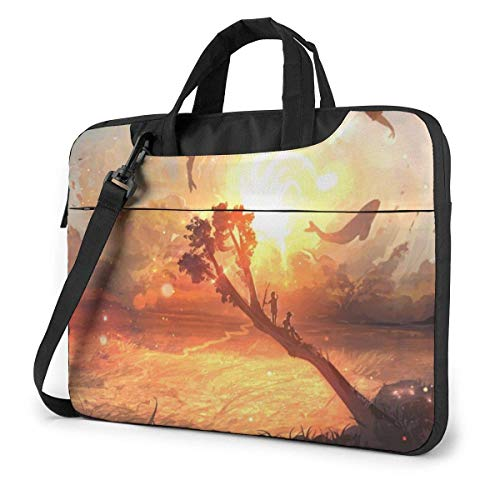 15.6″Lightweight Laptop Notebook Shoulder Backpack Bag Sunset Fish Waterproof PC Briefcase Messenger with Strap