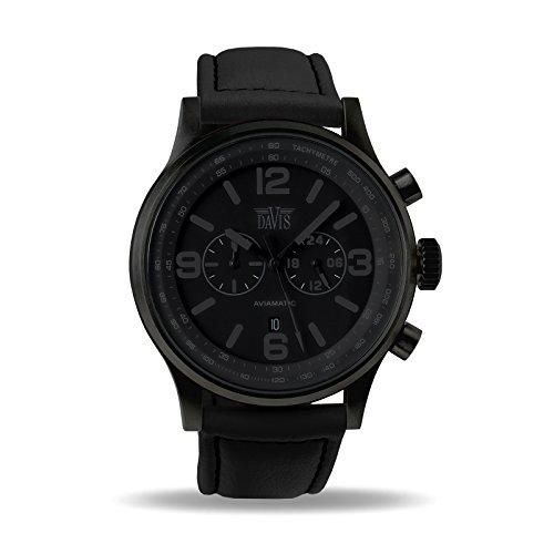 Davis 1278 - Herren Militär Uhr Phantom Chronograph Wasserdicht 50M Ziffernblatt Schwarz Datum Lorica Armband Schwarz